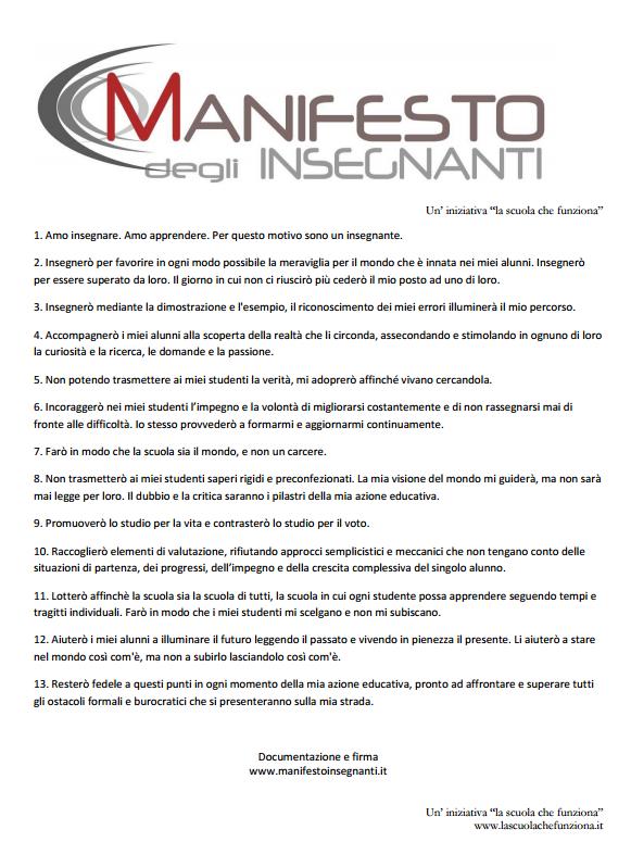 Manifesto insegnanti